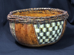 BOWL w WEAVING & COILING (KayLov) Tags: brown white green art nature pine grid pattern stitch natural carve container gourd needle dye coil shape rim decor weave woodburn pyrography