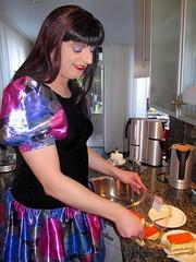 One... (Paula Satijn) Tags: blue girl cake shiny dress silk skirt tgirl transvestite pastry satin miniskirt tompouce gulr