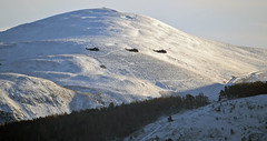 Royal Navy Sea Kings flying past the Pentland Hills,14/01/16 (murraymcbey) Tags: snow hills final helicopters flyby pentland royalnavy seakings