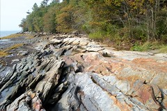 Rocky Coast of Maine (Herculeus.) Tags: trees fall me rock landscape outside us outdoor maine erosion freeport atlanticocean pinetrees rockformation beautifulearth 5photosaday wolfesneckwoodsstatepark
