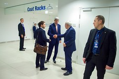 Secretary Kerry with State Department Chief of Staff Finer, Shakes Hands with Iranian Foreign Minister Javad Zarif at the Vienna International Center in Austria (U.S. Department of State) Tags: vienna austria iran johnkerry irandeal jonfiner