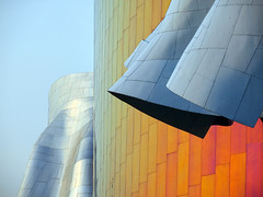 EMP Museum Detail (joannloro) Tags: seattle usa colour building metal museum architecture modern silver washington rivets unitedstates contemporary curves structure architect sheen frankgehry seattlecenter nikonflickrawardgold