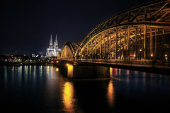Hohenzollern bridge, Cologne, Germany (pas le matin) Tags: travel reflection night river germany deutschland lights cathedral steel perspective cologne kln rhine hdr klnerdom colognecathedral hohenzollern hohenzollernbrcke hohenzollernbridge tiedarchbridge