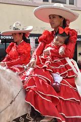 Escaramuzas riders with baby (Ashley3D) Tags: sleeping red baby 6 girl hat female drive team san downtown day texas dress cattle side sunny parade mexican hispanic cowgirl february antonio saddle drill rains charro 2016 sanantoniorodeo sumbrero escaramuzas