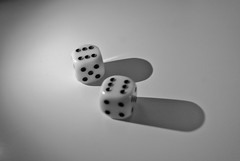 Lucky dice roll (ibbadib) Tags: shadow blackandwhite dice black game roll whit win gmabling
