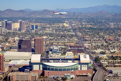 Delta Over Chase Field (Evan Gearing (Evan's Expo)) Tags: baseball stadium az phoenixarizona diamondbacks mlb majorleaguebaseball deltaairlines chasefield