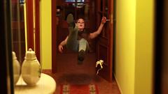 48/366: banana (Andrea  Alonso) Tags: door house selfportrait fall me myself hall levitation banana platano slip inside 365 autorretrato pasillo levitar caida 366 cascara