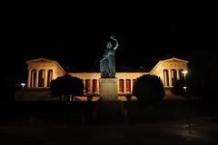 Bavaria (wimmerralf) Tags: city building statue architecture bronze night munich mnchen bayern bavaria availablelight columns architektur summilux beleuchtung nachtaufnahme ilumination theresienhhe theresienwiese allegorie klassizismus schwanthaler klenze gx7 lumixgx7