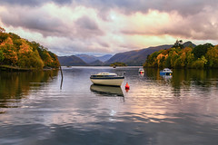 'That' Boat (chasingthe_stars) Tags: uk autumn trees light sunset sky sunlight lake mountains reflection fall water clouds landscape boat is colours seasons outdoor lakedistrict cumbria fells derwentwater usm colourful keswick circularpolarizer f4l ef24105mm leefilters canon6d