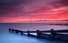 Felpham Twilight (hall1705) Tags: longexposure pink sea water westsussex dusk marker groyne felpham d3200