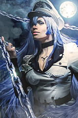 ESDEATH (ArtNinjaph) Tags: woman moon anime art girl night composition photomanipulation photoshop army effects photography scary artwork general cosplay manipulation battle chain cinematic bluehair cruel whitesuit photocomposition artninja esdeath akamegakill artninjaph
