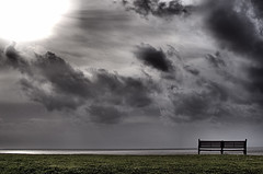 """Another cloudy day (CJS*64 """"Man with a camera"""") Tags: england sky cloud colour grass clouds bench outside nikon cloudy outdoor seat lancashire nikkor dslr fairhaven lythamstannes dayout cjs nikkorlens fairhavenlake 35mmlens d7000 nikond7000 35mm18lens craigsunter cjs64"""