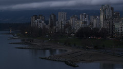 West End at Twilight (Geoff England) Tags: lighting light sunset canada west english beach night vancouver digital dark bay coast twilight bc pacific northwest low north columbia sombre british pnw