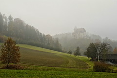 Burg Clam (nafoto!) Tags: castle fog landscape austria sterreich burg klam burgclam leicaq