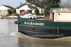 R.G.BARGEE heading up river. (BIKEPILOT) Tags: uk greatbritain bridge water river boat transport surrey vehicle riverthames barge narrowboat waterway canalboat waltononthames waltonbridge rgbargee