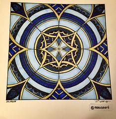 Blue & Gold Square Zendala (marusaart) Tags: blue art illustration gold sketch artist drawing mandala doodle ornament zen marker draw copic zentangle zendala marusaart