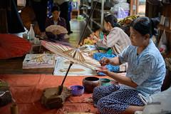 Parapluies artisanaux (cyril4494) Tags: work women femme travail myanmar umbrela parapluie birmanie artisant