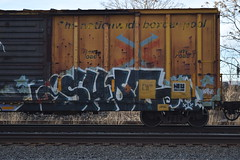 SHOT (TheGraffitiHunters) Tags: street blue white black green art train graffiti colorful paint shot tracks spray boxcar freight benched benching