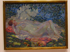 Autumn by Friedrich Carl Frieseke, 1914 (sam2cents) Tags: venice autumn trees light colour art nature leaves fruit painting naked nude skin bare museumofmodernart parasol 1914 bounty tone friedrichcarlfrieseke