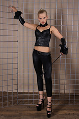 Sandy 26 (The Booted Cat) Tags: woman sexy girl leather high model highheels pants crop blonde whip heels mistress corsage leggins thigt