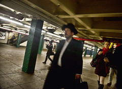Chasid (deepchi1) Tags: street city nyc newyorkcity people urban usa newyork hat subway streetlife manhatten streetpeople chasid hasidim peyos