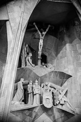 La Sagrada Familia - Detail (Foreign17) Tags: barcelona lighting street travel light vacation bw sculpture holiday detail travelling up statue familia closeup architecture religious photography mono la blackwhite spain nikon holidays europa europe soft catholic close zoom details religion jesus pillar modernism catalonia christian traveller espana crop walkabout gaudi catalunya christianity nikkor sagradafamilia bandw sagrada vignette vacations antoni crucifixion dx lightroom photooftheday antonigaudi 1685 d7100 1685mm lightroomcc