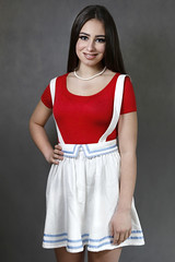 red and white (BarryKelly) Tags: red portrait woman white girl smile dark hair skirt suspender