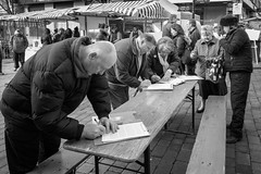 Mar 2016 (ammgramm) Tags: uk england people bw white black blackwhite cheshire naturallight petition signing macclesfield 18mm xpro1 treaclemarket fujifilmxpro1 fujinon18mmf2r