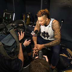 Senior forward Zach Auguste talks with reporters Saturday in Brooklyn. Prep for Sunday's showdown with Stephen F. Austin with our preview | http://ift.tt/1UcU9Wl