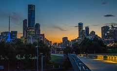 Autumn Melbourne nights (Sean Greenland) Tags: city autumn sunset sun sunshine cityscape sunsets australia melbourne explore citylights nights flickrexplore