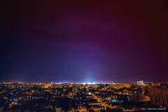 the light-polluted night sky (Romulus Anghel) Tags: city blue light urban rooftop colors beautiful beauty night canon buildings landscape lights spring cityscape tokina romania bucharest bucuresti 70d