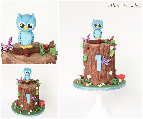 Excellent Owl Themed Birthday Cake A Photo On Flickriver Birthday Cards Printable Nowaargucafe Filternl