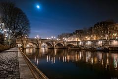 Paris - Les Quais du Pont Neuf (the_wonderer_wanderer) Tags: bridge moon paris france reflection classic water seine architecture buildings cityscape nightscape nightshot famous pont neuf idf moonshine quais