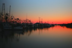 """simple set (listening to """"wild horses"""", the sundays version) (jeneksmith) Tags: ocean longexposure blue sunset red sea sky orange seascape reflection nature water colors canon mississippi boats harbor spring natural smooth shoreline shore april bluehour simple saltwater springtime gloaming shrimpboats waterscape deepsouth passchristian ndfilter witchinghour mississippisound canoneos70d"""