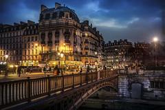 Paris, Caf Panis (Luc Mercelis) Tags: bridge blue red people paris france yellow night streetlamp bluehour citytrip cafpanis minoltaprimelens sonyslt77v minoltaprimelens24mm