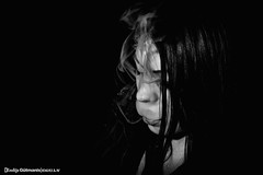 Smoking II (Endijs Gtmanis) Tags: nightphotography portrait pose outdoors women smoke smoking bnw splendid