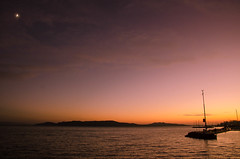 PASTEL RAYS (DanielO'Donnell & AbiPonceHardy) Tags: travel pink sunset madame orange moon lake mountains travelling water youth clouds boat europe hungary purple dijon floating peaceful tranquility calm hills adventure backpacking mustard colonel eastern balaton