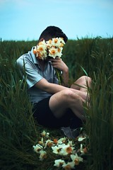 Daffodil Chills (Anton Redding) Tags: flowers blue gay portrait orange white selfportrait green self canon nude skinny spring mark handsome ii daffodil 5d anton thin pills redding pill narcissus daffodill selfie dafodil 2016 nuetral