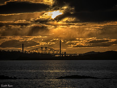 Week 15 - Silhoette - 3 Bridges Silhoette (Scotty Rae) Tags: sunset sea water silhouette river coast scotland dusk bridges forth northsea riverforth forthbridges midlothian forthestuary