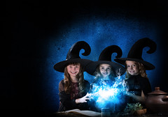 Three little witches (noor.khan.alam) Tags: carnival autumn food black cute halloween girl beautiful beauty hat childhood dark studio book three costume kid clothing child witch smoke magic gothic cook adorable spell read pot fantasy enjoy fancy stick trick cheerful magical witchcraft exciting caucasian conjure russianfederation sorcery