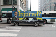 Injured (Flint Foto Factory) Tags: camera city urban chicago motion bus ford car sedan franklin evening illinois spring downtown cta cross loop walk flag side letters wheels profile platform americanflag jackson number cairo chrome american rush lincoln lou april intersection rushhour 1989 pm towncar panther luxury turbine attorney inmotion 1300 chicagotransitauthority fomoco brougham 2016 rwd 4door sooc straightoutof