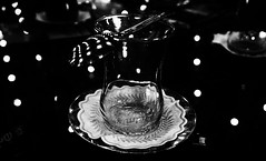 The end. (anil.calim) Tags: blackandwhite white black glass monochrome lights tea empty transparent