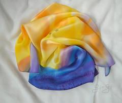 zakat__01 (Gi--Gi) Tags: blue sunset sky mountains yellow landscape handmade silk batik accessorize