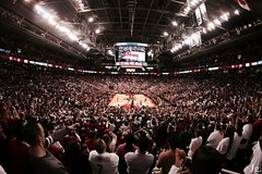 Entire city on its feet. (jess-gov) Tags: life toronto canada game sports basketball canon ball is crazy acc 5 air north atmosphere indiana center we east fisheye powell playoffs fans nba lowry masai raptors pacers the 70d rtz derozan valanciunas