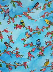 Doors of Heaven - entire painting - painting by Emmanuelle Rey - acrylics on canvas 80cm x 60cm (Artist - Painter - Photographer) Tags: pink flowers blue trees sky birds painting cherry heaven paradise doors blossom azure peinture ciel arbres paradis oiseaux