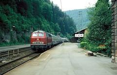 Calw  1985  215 060  (1) (w. + h. brutzer) Tags: analog train germany deutschland nikon eisenbahn railway zug trains db locomotive lokomotive 215 diesellok eisenbahnen calw v160 dieselloks webru nagoltalbahn
