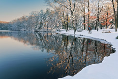 A Snowy Kiss (romiana70) Tags: park new winter sunset england snow storm love forest reflections pond kissing couple day state connecticut valentines brook wharton wallingford