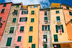 Close up view of the multicored talll buildings in Cinque Terre, Italy. (CamelKW) Tags: italy closeup cinqueterre riomaggiore multicored italy2012 talllbuildings