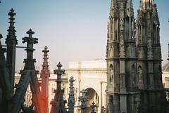 Milan (cranjam) Tags: italy milan film architecture lomo lca lomography italia cathedral spires milano lightleak duomo agfa architettura duomodimilano gothicrevival piazzadelduomo guglie milancathedral galleriavittorioemanueleii neogotico mengoni vista200 giuseppemengoni