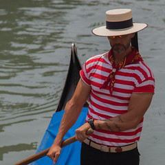 Gondolier - People 7 (Ged Slaughter Photography) Tags: venice people italy muscles hat tattoo cool italia candid stripes shades tattoos barbedwire oar gondola venezia gondolier neckerchief boater gedslaughter